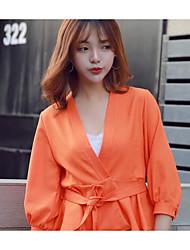Tee-shirt Femme,Couleur Pleine Habillées simple Manches ¾ Col en V Coton