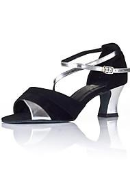 Women's Dance Shoes Sparkling Glitter Latin Sandals Heels Low Heel Indoor Black