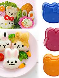 3Pcs/set  Bear The Rice Ball Mould Three-piece Tools Bento Sushi DIY Rabbit Cartoon Children