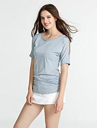 Damen Solide Sexy Street Schick Lässig/Alltäglich T-shirt,Rundhalsausschnitt Sommer Kurzarm Polyester Dünn