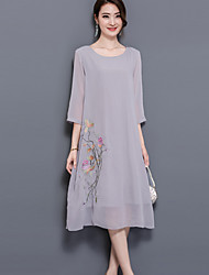 Women's Plus Size Going out Simple Chinoiserie Loose Dress,Embroidered Round Neck Midi ¾ Sleeve Polyester Summer Mid Rise Micro-elastic