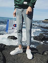 Masculino Simples Moda de Rua Activo Cintura Média Micro-Elástico Jeans Chinos Calças,Reto Delgado Cor Única
