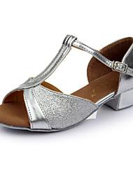 Customizable Women's Dance Shoes Paillette Latin Heels Low Heel Indoor
