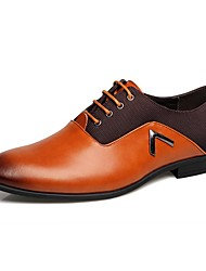 Masculino-Sapatos De Casamento-Conforto Sapatos formais-Rasteiro-Preto Laranja Marron-Couro-Casamento Escritório & Trabalho Casual
