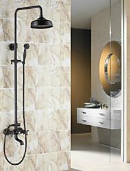 Antique Set de centre Douche pluie with  Soupape céramique Deux poignées trois trous for  Bronze huilé , Robinet de douche