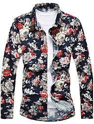 Masculino Camisa Social Casual Praia Simples Activo Verão,Listrado Floral Galáxia Algodão Raiom Colarinho de Camisa Manga Longa Fina