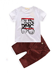 Boys' Going out Casual/Daily Print Sets,Cotton Summer Short Sleeve Clothing Set