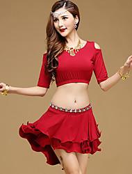 Мы будем латинскими танцами одежды женщин производительность модальные 2 штуки половина рукава высокие юбки топы
