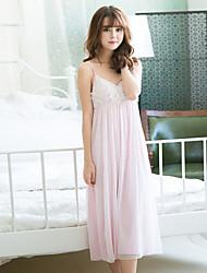 Robe de nuit femme v appliques de fleur de cou dentelle rembourrée sweet sleep dress