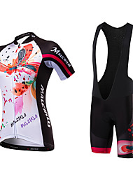 Cycling Jersey with Bib Shorts Women's Short Sleeves Bike Jersey Bib Tights Quick Dry Anatomic Design Ultraviolet Resistant Moisture