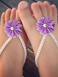 Kids Simulation Of Pearl Shoes DIY Handmade baby's Foot Chain Red/Yellow/Blue/Purple/Pink/Fuchsia/Orange