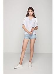 Damen Druck Sexy Einfach Street Schick Ausgehen Lässig/Alltäglich T-shirt,V-Ausschnitt Sommer Herbst Kurzarm Baumwolle Mittel