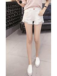 Femme simple Taille Normale Jeans Short Pantalon,Droite Couleur Pleine