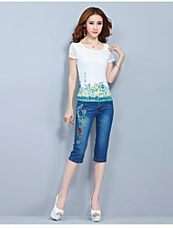 Women's Casual/Daily Simple Blouse,Floral Round Neck Short Sleeve Silk
