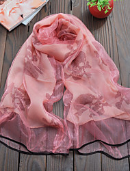 Women's Chiffon Silk Scarf Cute Party Casual Rectangle Black/Red/Pink/White/Khaki Print Scarves Polyester