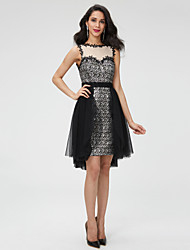 A-Linie Schmuck Asymmetrisch Tüll Pailletten Cocktailparty Abschlussball Kleid mit Perlenstickerei Schärpe / Band Plissee durchTS