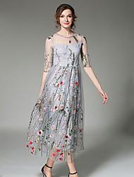 Kadın Dışarı Çıkma Günlük/Sade Çan Elbise Çiçekli,½ Kol Uzunluğu Yuvarlak Yaka Maksi Polyester Bahar Yaz Normal Bel Esnemez İnce Orta