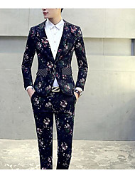 Men's Going out Street chic Spring Suit,Print Shirt Collar Long Sleeve Short Others