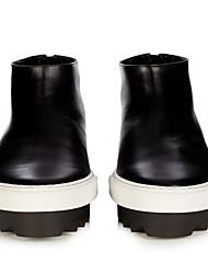 Damen-Flache Schuhe-Lässig-PU-Blockabsatz-Fersenriemen-Schwarz Orange