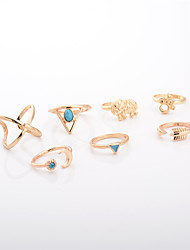 Ring Jewelry Euramerican Fashion Personalized Alloy Irregular Silver Gold Rings For Daily Casual 1 Set Wedding Gifts