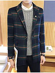 Men's Casual/Daily Simple Fall Blazer,Striped Peaked Lapel Long Sleeve Regular Wool