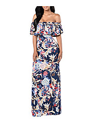Women's Casual/Daily A Line Dress,Floral Off Shoulder Maxi Short Sleeve Polyester All Seasons Mid Rise Micro-elastic Medium