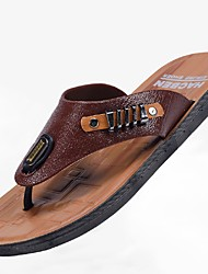 Men's Slippers & Flip-Flops Light Soles Leatherette Summer Casual Outdoor Light Soles Low Heel Light Brown Dark Brown Under 1in
