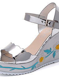 Women's Sandals Gladiator Patent Leather PU Spring Summer Casual Dress Gladiator Buckle Flower Split Joint Wedge Heel Silver Gray4in-4