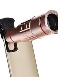 Zoom óptico de alumínio universal 18x com mini tripé smartphone telescópio de metal lente de foco longo -pink