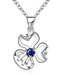 Femme Pendentif de collier Zircon cubique Forme de Fleur Zircon Plaqué argentOriginal A Fleurs Pendant Géométrique Amitié euroaméricains