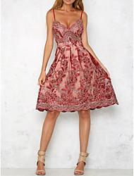 Для женщин На выход На каждый день Простое Уличный стиль Свободный силуэт Прямое Кружева Платье Цветочный принт Вышивка,На бретелях