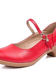 Women's Dance Shoes Leatherette Modern Dance Sneakers Low Heel Outdoor Red/Black/Fuchsia/Beige