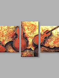 IARTS®Hand Painted Guitar Set of 3 Oil Painting with Stretched Frame For Home Decoration