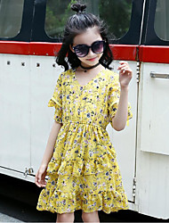 Girl's Solid Color Floral Dress,Cotton Polyester Summer 1/2 Length Sleeve