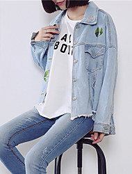 Women's Casual/Daily Vintage Simple Fall Winter Denim Jacket,Print Shirt Collar Regular Others Embroidered