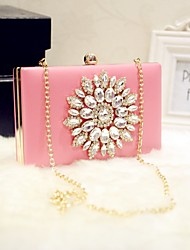 Women Evening Bag PU All Seasons Event/Party Party & Evening Date Baguette Rhinestone Magnetic Peachblow White