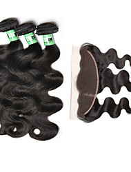 4 Pcs/Lot Peruvian Body Wave 3 Bundles With 1 Pc 13X4 Lace Frontal Closure  Free Part