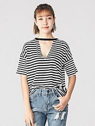 Tee-shirt Femme,Rayé Sexy simple ½ Manches Col en V Coton