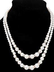Mujer Strands Collares Collares en capas Perla artificial Perla Artificial Brillante Legierung Diseño Único Diamantes Sintéticos Perla