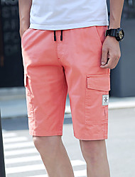 Men's Mid Rise Micro-elastic Chinos Shorts Pants,Simple Slim Camouflage Color