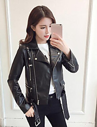 Women's Leather Jacket Shirt Collar Long Sleeve