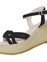 Damen Sandalen Leinen Sommer Walking Kombination Block Ferse Weiß Schwarz Beige Blau Farbbildschirm 7,5 - 9,5 cm