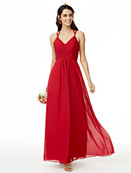 Sheath / Column Spaghetti Straps Ankle Length Chiffon Bridesmaid Dress with Criss Cross Pleats by LAN TING BRIDE®