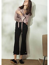 Feminino Simples Cintura Alta Inelástico Perna larga Calças,Largo Sólido