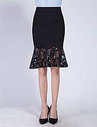 Women's Above Knee Skirts,Sexy Simple Trumpet/Mermaid Pure Color Lace Solid