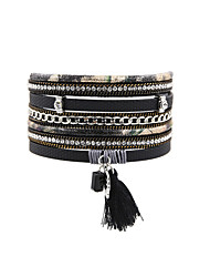 Fashion Women Multi Rows Stone Set   Rhinestone Tassel Magnet Leather Bracelet
