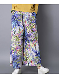 Feminino chinoiserie Cintura Média strenchy Perna larga Calças,Perna larga