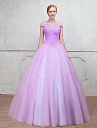 Ball Gown Illusion Neckline Floor Length Tulle Formal Evening Dress with Beading Lace by MMHY