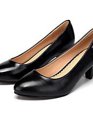 Feminino Saltos Sapatos formais Courino Primavera Outono Sapatos formais Salto Grosso Preto 12 cm ou mais