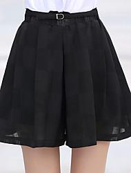 Femme simple Taille Haute Micro-élastique Ample Pantalon,Large Couleur unie Dentelle Effets superposés Couleur Pleine